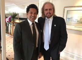 Sachin took to Twitter on Sunday to share a photograph of himself with Gibb, in which the two can be seen posing together while in formals.