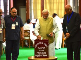 Prime Minister Narendra Modi and BJP chief Amit Shah were among the first to cast their votes in Parliament shortly after polling to elect India's 14th President began on Monday morning. Modi, clad in a beige colour sleeveless jacket over a white kurta-pyjama, reached the parliament premises early to vote. It is also the first day of the over three-week monsoon session of Parliament. The Prime Minister said the session was expected to herald in a new hope for India.
