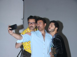 Bobby Deol, Sunny Deol and Shreyas Talpade during a promotional photoshoot for their upcoming film