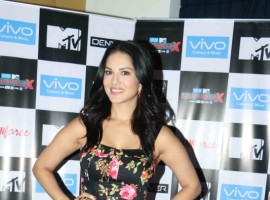 Bollywood actress Sunny Leone promotes 'Splitsvilla' reality show in Mumbai.