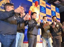 Allu Aravind, Nimmagadda Prasad, Sachin, Kamal, Ram Charan, Allu Arjun at Tamil Thalaivas jersey launch.