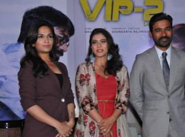 Kajol, Dhanush with director Soundarya Rajinikanth during the promotion of their upcoming film
