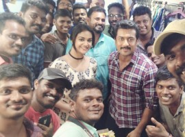 South Indian actor Suriya celebrates his birthday with Keerthy Suresh and Vignesh Shivan on Thaana Serndha Kootam sets.