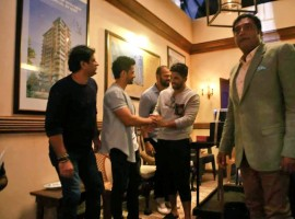 Actor Allu Arjun meets Rohit Shetty, Tushar Kapoor, Kunal Khemu on Golmaal Again sets in Mumbai.