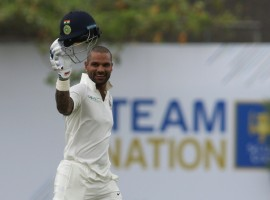 Shikhar Dhawan missed out on a maiden double century as India took the upper hand, piling on 282/2 at tea on the opening day of the first Test against Sri Lanka here on Wednesday. Dhawan smashed the rather ordinary Lankan bowling all around the Galle International Stadium, racing to 190 runs off 168 deliveries with 31 boundaries studding his hurricane innings.