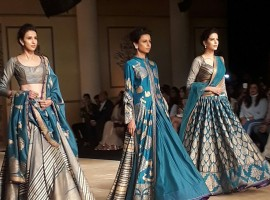 It was not just the showstopper Bhumi Pednekar who added glamour to her show at the India Couture Week (ICW) 2017, but the finest selection of colours also made designer Reynu Taandon's collection a little more chic, classy and elegant. Remaining true to her roots, Taandon in association with Rajnigandha presented collection titled