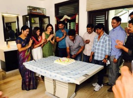 Actress Kajal Agarwal, Nandamuri Kalyanram celebrate director Upendra Madhav birthday on MLA sets.