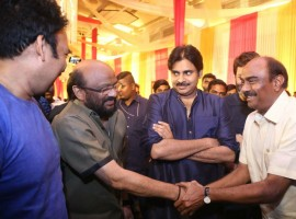 Pawan Kalyan spotted at Shyam Prasad Reddy daughter Maithri wedding.