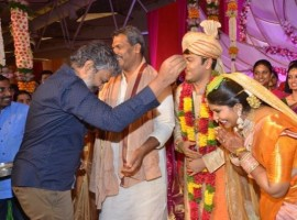 SS Rajamouli snapped at Shyam Prasad Reddy daughter Maithri wedding.