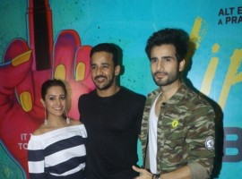 Actress Anita Hassanandani along with her husband Rohit Reddy and actor Karan Tacker during The Red Carpet Along With Success Party Of the film