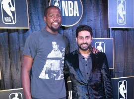 Bollywood actor Abhishek Bachchan with NBA Most Valuable Player Kevin Durant at the reception in New Delhi.