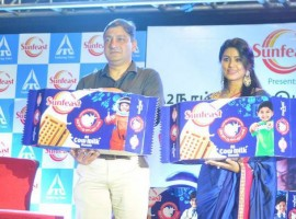 Actress Sneha launches Sunfeast A2 Cow Milk Biscuits.