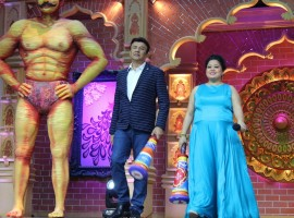 Music composer-singer Anu Malik and Indian stand-up comedian Bharti Singh during the launch of