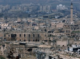 A view shows the damage in the Old City of Aleppo as seen from the city's ancient citadel, Syria January 31, 2017. Picture taken January 31, 2017.
