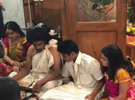 Varamahalakshmi festival celebrated at actor Upendra and Priyanka's house.