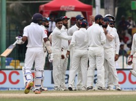 Forced to follow on, the Sri Lankan batsmen were all out for 386 runs in their second innings on the penultimate day of the Test. The Indians had declared their first innings at 622/9 while the hosts were all out for 183 in their first innings. Left-arm spinner Ravindra Jadeja did most of the damage on the day with figures of 5/152. Star off-spinner Ravichandran Ashwin had figures of 2/132 while medium-pacer Hardik Pandya returned 2/31. Fast bowler Umesh Yadav took one wicket. India have now taken an unassailable 2-0 lead in the three-match series. Several Sri Lankan batsmen displayed poor selection on a pitch which was offering a fair bit of turn, specially to Ashwin.