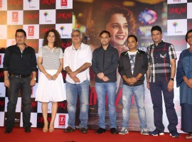 Actors Kangna Ranaut and Esha Tewari Pande, music producer Bhushan Kumar and filmmaker Hansal Mehta during the trailer launch of upcoming film