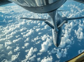 One of two U.S. Air Force B-1B Lancer bombers receives fuel from a KC-135 Stratotanker while flying a 10-hour mission from Andersen Air Force Base, Guam, into Japanese airspace and over the Korean Peninsula, July 30, 2017.