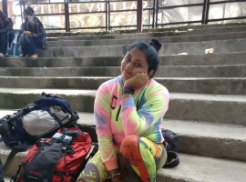 Actress Namitha trekking away her Bigg Boss stress in Himachal Pradesh.