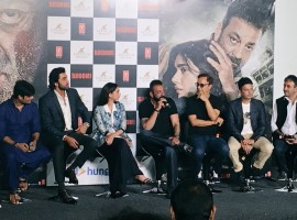 Celebs like Ranbir Kapoor, Sanjay Dutt, Aditi Rao Hydari, Raju Hirani and Vidhu Vinod Chopra at Bhoomi Trailer launch event.