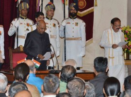 M. Venkaiah Naidu on Friday took oath as the new Vice President at a simple ceremony in Rashtrapati Bhawan's Durbar Hall here. President Ram Nath Kovind administered the oath of office to the former Bharatiya Janata Party leader in Hindi.
