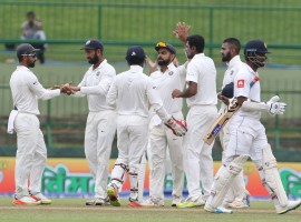 India thrashed Sri Lanka by an innings and 171 runs on the third day of the third and final Test match to sweep the series 3-0 at the Pallekele International Cricket Stadium here on Monday.