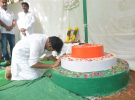 Actor Pawan Kalyan celebrates Independence day at Jana Sena Office.