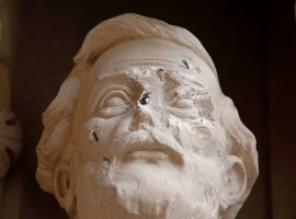 Damage is seen done to the face of a statue of Confederate commander General Robert E. Lee at Duke University's Duke Chapel in Durham, North Carolina, U.S.