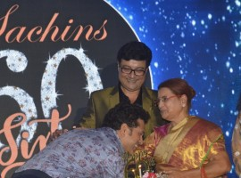 Actor Sachin Pilgaonkar celebrate his birthday with his mother and Cricketer Sachin Tendulkar in Mumbai on Aug 17, 2017.