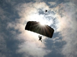 A U.S. Marines' member takes part in parachute drops during their joint exercise with Japan Ground Self Defense Force, named Northern Viper 17 at Hokudaien exercise area in Eniwa, on the northern island of Hokkaido, Japan.