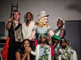 She celebrated her 59th birthday with a gypsy-themed party in Lecce, Italy, on Thursday, and was showered with love from sons Rocco, 17, and David, 11, as well as daughters Lourdes, 20, Mercy James, 11, and twins Estere and Stella, 4, reports people.com.