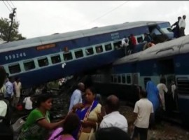 Four coaches of the Kalinga-Utkal Express went off the tracks in Khatauli in Muzaffarnagar district of Uttar Pradesh on Saturday evening, officials said.