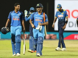 Chasing a revised target of 231 due to rain, India were cruising at 108 for no loss in the 16th over. But the match turned on its head in a space of six overs as the visitors lost seven wickets for just 22 runs. All-rounder Akila Dananjaya created havoc in the India's batting line-up as he scalped six wickets in his 10 overs. But then Dhoni (45 not out) and Bhuvneshwar A(53 not out) forged a match-winning partnership to seal the deal for India. India now lead the five match series 2-0. The visitors had defeated Sri Lanka by nine wickets in the ODI at Dambulla.