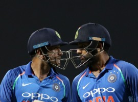 Opener Rohit Sharma's briliant unbeaten ton helped India beat Sri Lanka by six wickets to seal the five match One-Day International series 3-0 here on Sunday. Apart from Rohit (124 not out), former skipper Mahendra Singh Dhoni (67 not out) played a perfect support role at the other end after India's top order got exposed with the scoreboard reading 61/4 in 15.1 overs. The duo forged an unbeaten 157-run partnership for the fifth wicket but just when eight runs were needed, the crowd hurled bottles in the ground and the match had to be stopped. After a long wait, the umpires decided to call off the match. But, after the players left the field after the customary handshakes, security persons got the stadium emptied of spectators and the umpires then decided to resume the match.