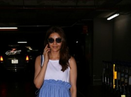 Kajal Aggarwal spotted at Chhatrapati Shivaji Maharaj International airport.