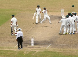 Bangladesh scripted history as the hosts shocked Australia by 20 runs on the fourth day of the first Test match at the Shere Bangla National Stadium here on Wednesday. This was the first Test victory against Australia for the hosts and with this result Bangladesh have now taken a 1-0 lead in the two match series. From 158 for 2, Australia slipped to 199 for 8. Lower-order batsmen Pat Cummins (33 not out) and Nathan Lyon (12) then tried to stabilise the innings but Taijul Islam removed Lyon to seal the issue.
