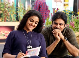 Here's an adorable glimpse of #PSPK25 starring Pawan Kalyan and Keerthy Suresh in the lead role.
