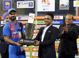 Virat Kohli led from the front with some explosive batting as India thrashed Sri Lanka by seven wickets in the one-off Twenty20 International at the R. Premadasa Stadium here on Wednesday. Kohli plundered 82 runs off just 54 deliveries, smashing seven boundaries and a six as the visitors chased down the 171-run target with four balls and seven wickets to spare. Manish Pandey gave Kohli excellent support from the other end. The right-hander from Karnataka brought up his maiden half-century in T20Is and remained unbeaten on 51 with four boundaries and a six studding his 36-ball innings. The duo put together 119 runs between them off 77 deliveries after the early departure of Indian openers Rohit Sharma and Lokesh Rahul.