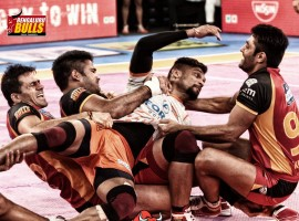 Bengaluru Bulls put up a stupendous defensive show as they snapped their six-match losing streak with a 24-20 victory over Puneri Paltan in an inter-zone clash of the Pro Kabaddi League (PKL) here on Sunday. Kuldeep Singh (five tackle points) marshalled the Bengaluru defence as they scored 15 tackle points and controlled Pune raiders. Bengaluru Bulls are now fourth in Zone B with 29 points from 13 matches. Puneri Paltan are also in the fourth spot in Zone A with 32 points from nine matches.