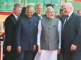 Ram Nath Kovind and Prime Minister Narendra Modi receives Alexander Lukashenko, President of the Republic of Belarus during his ceremonial reception at Rashtrapati Bhavan on Sept. 12, 2017.
