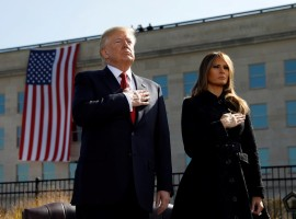 President Trump and First Lady Melania attend the 9/11 observance at the National 9/11 Pentagon Memorial in Arlington, Virginia.