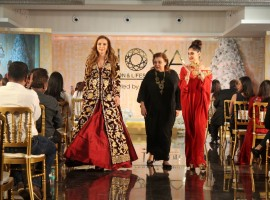 Model Lulia Vantur walks ramp for Pallavi Jaikishan at Joya Fashion & Lifestyle Exhibition.