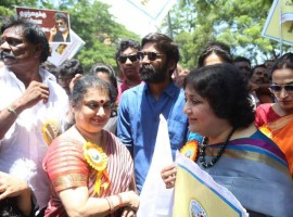 Dhanush and Latha Rajinikanth at Save Children protest at Shree Dayaa Foundations.