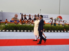 Japanese Prime Minister Shinzo Abe arrived here on Wednesday on a two-day visit to India during which he will hold talks with Prime Minister Narendra Modi and both will lay the foundation stone of the ambitious Rs 1.08 lakh crore ($17 billion) Ahmedabad-Mumbai bullet train project. In a special gesture, Modi personally received Abe with a warm hug at the Sardar  Vallabhbhai Patel International Airport here.
