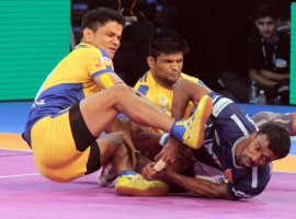 Ajay Thakur scored five points in the last minute to give Tamil Thalaivas a 34-33 morale-boosting victory over UP Yoddha in a Pro Kabaddi League (PKL) clash here on Wednesday. It was just the second victory of the campaign for Thalaivas and UP Yoddha were left to rue their errors. Thalaivas were second best for most of the match but came up the goods at critical moments of the match. Nitin Tomar scored 14 points for UP Yoddha but his effort went in vain. Tamil Thalaivas remain rooted at the bottom of Zone B table with 21 points from 10 games. UP Yoddha are second with 37 points from 14 games.