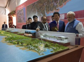 Prime Minister Narendra Modi and Japanese Prime Minister Shinzo Abe on Thursday laid the foundation stone for the ambitious Rs 1.08 lakh crore ($17 billion) 508-km Ahmedabad-Mumbai High Speed Rail here. Besides Modi and Abe, Railway Minister Piyush Goyal, Minister of State for Railways Manoj Sinha, Gujarat Governor O.P. Kohli, Gujarat Chief Minister Vijay Rupani and Maharashtra Chief Minister Devendra Fadnavis were also present. Modi and Abe also laid the foundation stone for the Vadodara High Speed training institute.