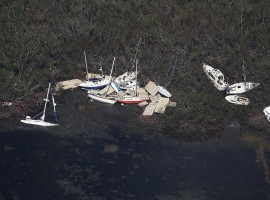 Boats washed ashore in Marathon.