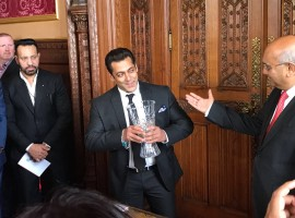 Bollywood star Salman Khan received a Global Diversity Award at Britain's House of Commons. Salman was at the House of Commons here on Friday, and received the award from Keith Vaz, British Parliament's longest-serving Asian MP.