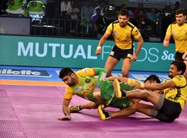 Pardeep Narwal continued his stellar form, scoring 14 points to lead the Patna Pirates to a comfortable 46-30 win over Telugu Titans in the opening match of the Ranchi leg of Pro Kabaddi League (PKL) season 5 here on Friday. Narwal was ably supported by Monu Goyat, who scored with 10 points.