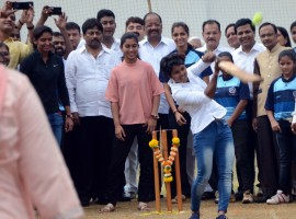 Indian women cricketer Poonam Raut during the launch of her cricket academy at Poisar Gymkhana.